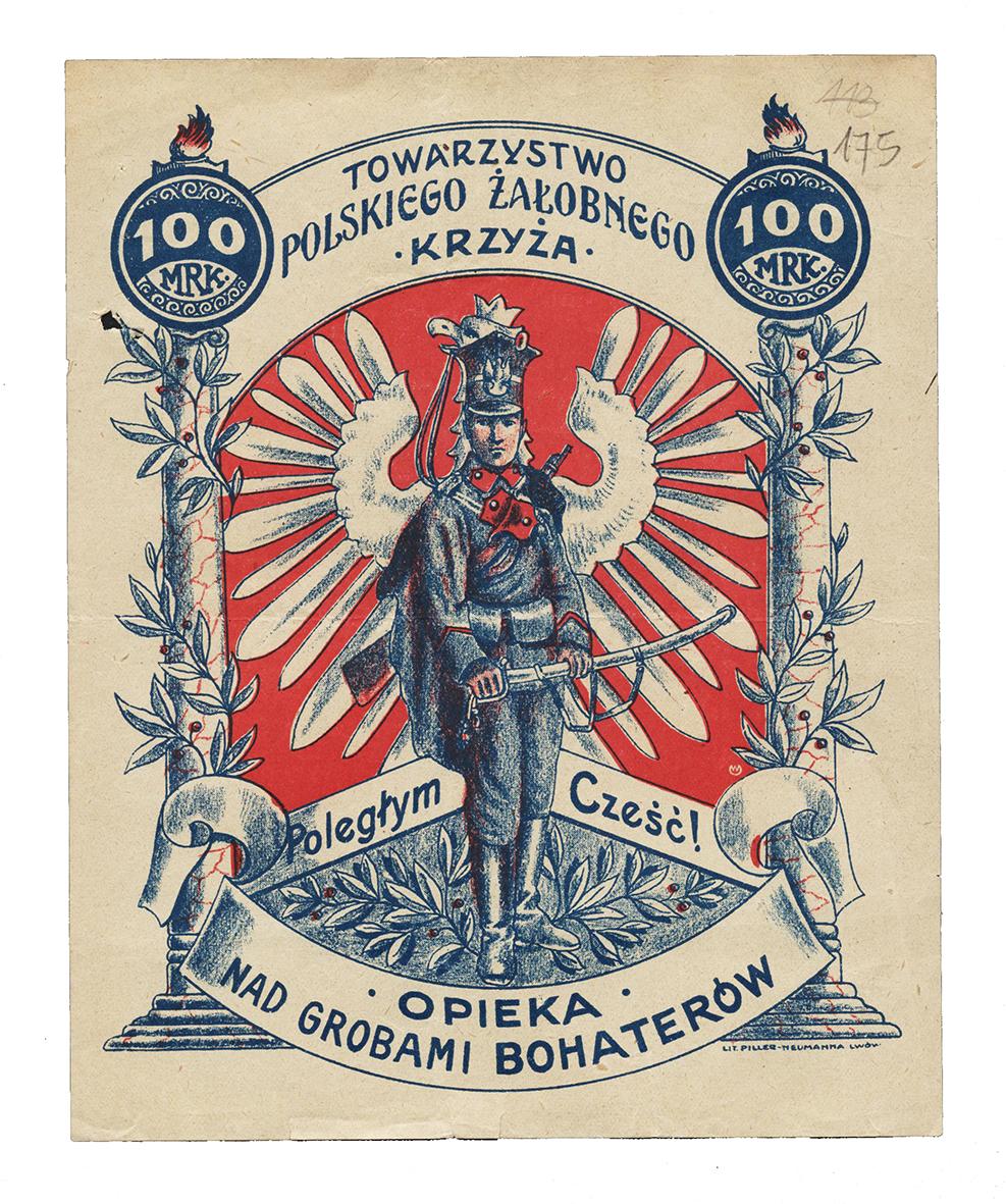 Ulotka przedstawiająca polskiego ułana, z tyłu widoczny polski orzeł