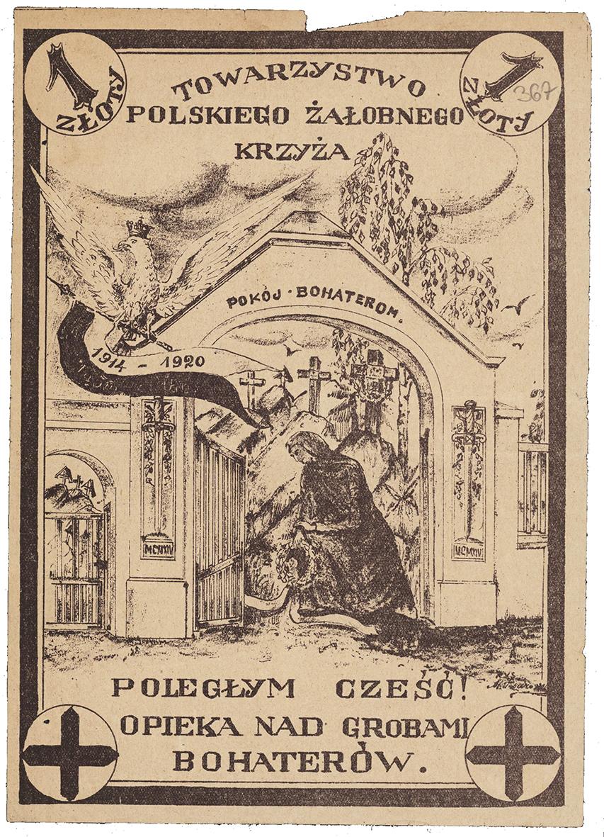 Ulotka przedstawiajaca kobiete modlącą się na cmentarzu